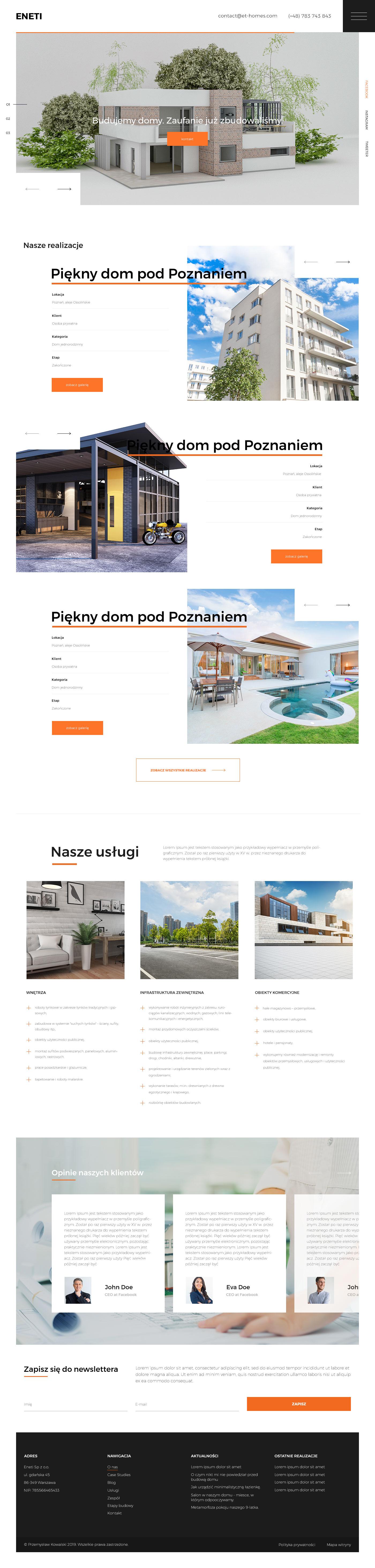 Strona internetowa dla firmy budowlanej Eneti (projekt graficzny).