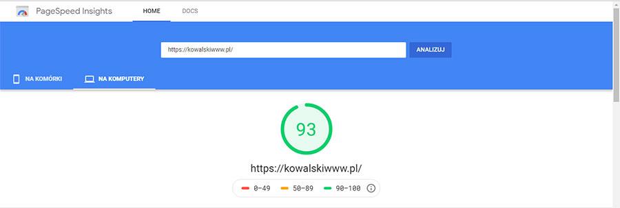 Jak przyśpieszyć stronę internetową - PageSpeed Insight