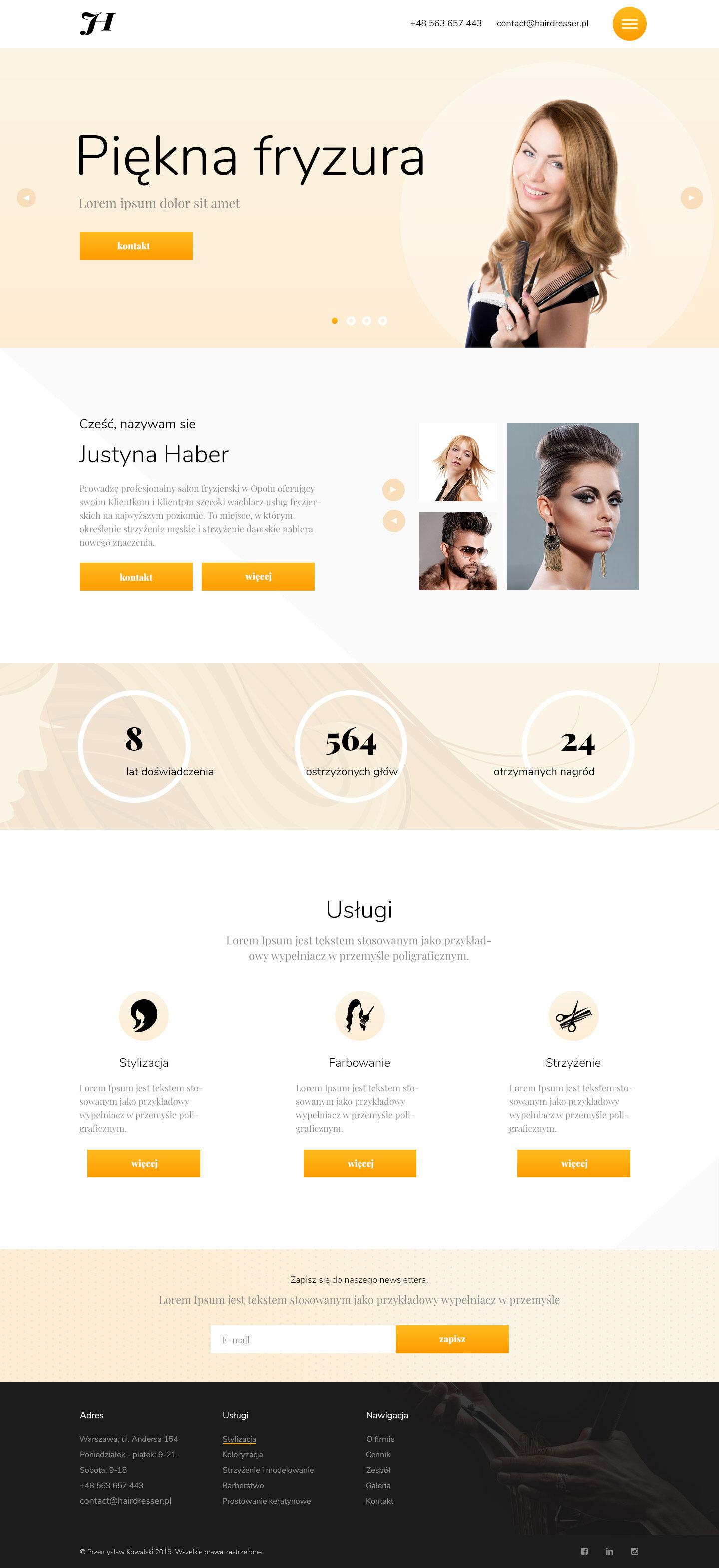 Strona internetowa salonu fryzjerskiego - projekt graficzny